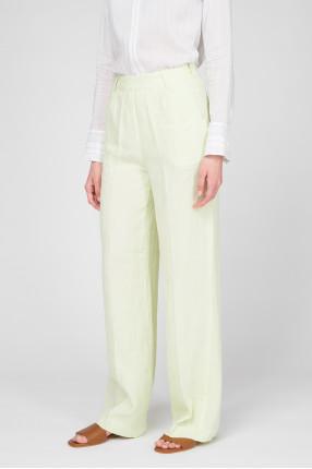 Женские салатовые льняные брюки  1