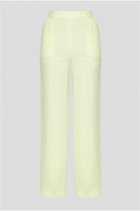 Женские салатовые льняные брюки