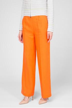 Женские оранжевые льняные брюки  1