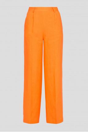 Женские оранжевые льняные брюки