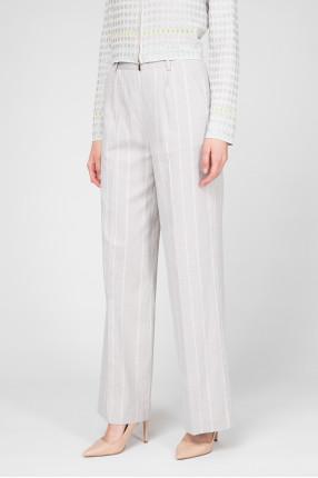 Женские серые льняные брюки  1
