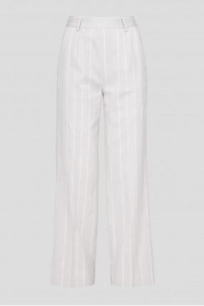 Женские серые льняные брюки