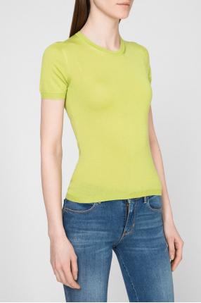 Женская салатовая кашемировая футболка 1