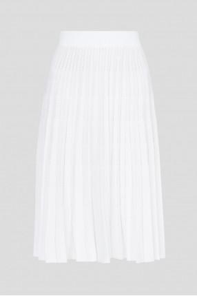Женская белая плисcированная юбка  1