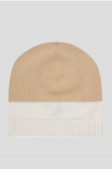 Женская бежевая кашемировая шапка