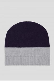 Женская фиолетовая кашемировая шапка