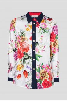 Женская шелковая блуза с принтом