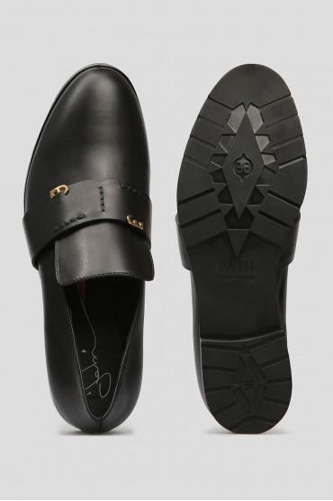Женские черные кожаные лоферы 4