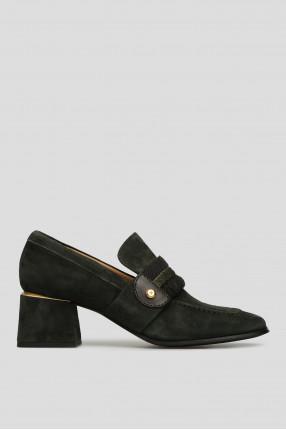 Женские зеленые замшевые туфли