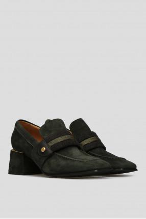 Женские зеленые замшевые туфли 1