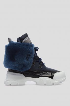 Женские синие ботинки