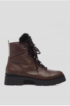 Женские коричневые кожаные ботинки с мехом