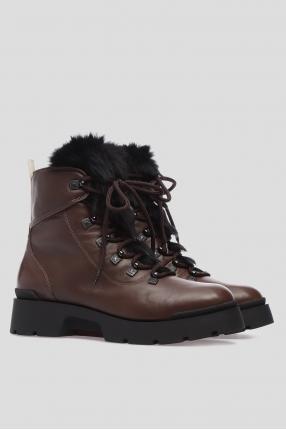 Женские коричневые кожаные ботинки с мехом 1