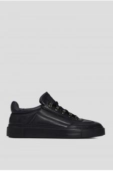 Мужские темно-синие кожаные ботинки на меху