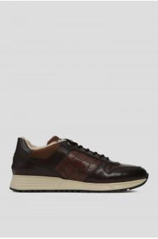 Мужские коричневые кожаные кроссовки на меху