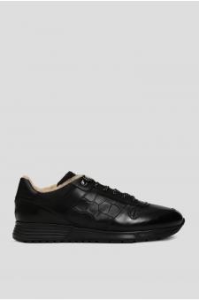 Мужские черные кожаные кроссовки на меху