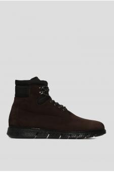 Мужские коричневые замшевые ботинки на меху