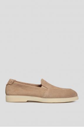 Мужские бежевые замшевые туфли