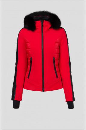 Женская красная лыжная куртка