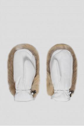 Женские белые кожаные рукавицы с мехом 1