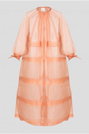 Женское персиковое шелковое платье