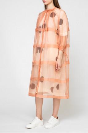 Женское персиковое шелковое платье 1
