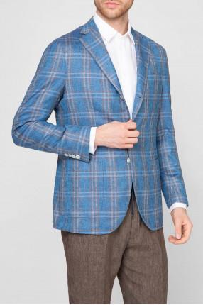 Мужской голубой шелковый пиджак 1