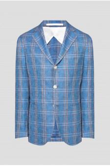 Мужской голубой шелковый пиджак