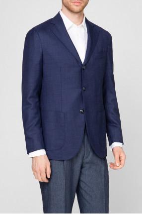 Мужской темно-синий шерстяной пиджак 1
