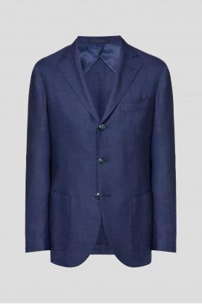 Мужской темно-синий шерстяной пиджак