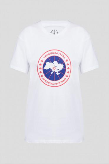 Женская белая футболка с принтом 1