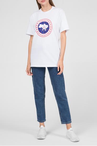 Женская белая футболка с принтом 5