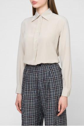 Женская бежевая шелковая блуза 1