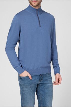 Мужской голубой шерстяной свитер 1