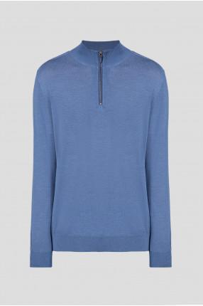 Мужской голубой шерстяной свитер