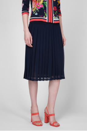 Женская темно-синяя плиссированная юбка 1