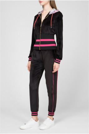 Женский черный спортивный костюм (худи, брюки) 1