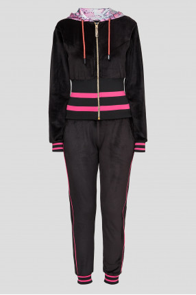 Женский черный спортивный костюм (худи, брюки)