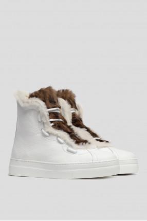 Женские белые кожаные хайтопы 1