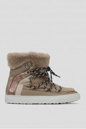 Женские бежевые кожаные ботинки