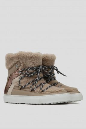 Женские бежевые кожаные ботинки 1