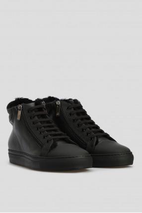 Мужские черные кожаные хайтопы 1
