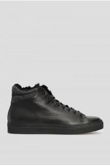 Мужские черные кожаные хайтопы