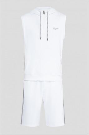 Мужской белый спортивный костюм (футболка, шорты)