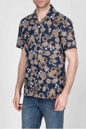 Мужская темно-синяя рубашка с принтом 1
