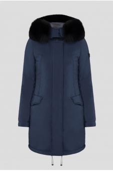 Женская синяя удлиненная куртка