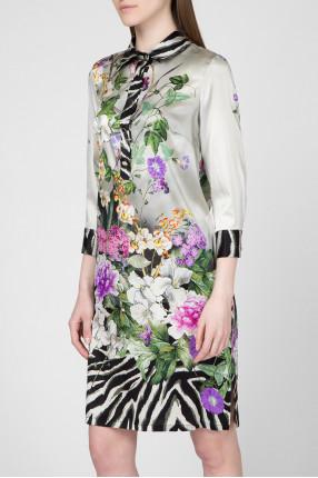 Женское шелковое платье с принтом 1