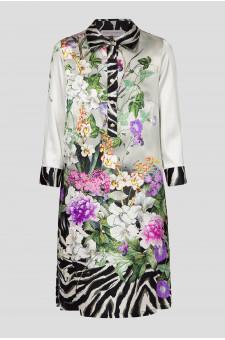 Женское шелковое платье с принтом