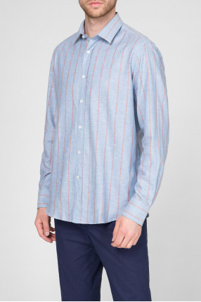 Мужская голубая рубашка в полоску 1