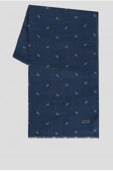 Мужской синий шерстяной шарф